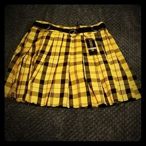 Current Mood Yellow Plaid Skirt